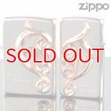 【y】ZIPPOペア#200 #200 アラベスクハートメタルペア AHM-SP 銀ミラー ピンクゴールド スワロ付 【】