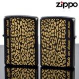 【y】ZIPPOペア#200 #200 アニマルプラネットペアセット レオパレード RP-PR エッチング 凹面24Kメッキ イオンブラックマット仕上げ