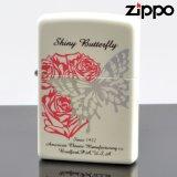 【y】 ZIPPO#200 シャイニーバタフライ パールホワイト プリント2色 金属箔プリントsb-pw (10020045) 【】
