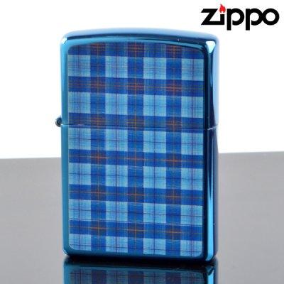 画像1: 【y】 ZIPPO#200 CHECK&CHECK フルカラープリント イオンブルー ch-ib (10020079) 【】