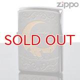 【f】Zippo ジッポライター 1201s219 ムーンライトラバーズネコ BK ニッケル 色入れ エッチング加工 【】