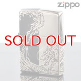 【m】Zippo ジッポライター 2bks-drhf 龍4面 マットブラック エッチング銀サシ仕上げ4面連続加工 【】