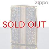 【m】Zippo ジッポライター 2gi-art アラベスク ゴールド 金メッキいぶし仕上げ彫刻エッチング両面加工 【】