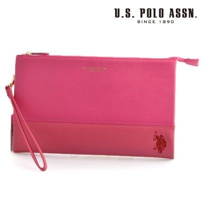 画像1: US POLO ASSN 500093 USPA-1903 pink dark pink サフィアノ クラッチバッグ
