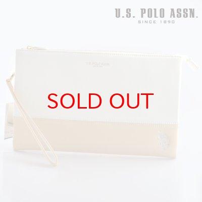 画像1: US POLO ASSN 612024 USPA-1903 white beige サフィアノ クラッチバッグ