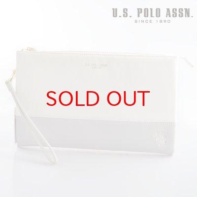 画像1: US POLO ASSN 664949 USPA-1903 white light gray サフィアノ クラッチバッグ