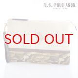 US POLO ASSN 679733 USPA-1872 white beige camouflage2 ソリッドクラッチバッグ