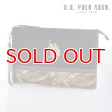 US POLO ASSN 679735 USPA-1872 black beige camouflage2 ソリッドクラッチバッグ