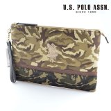 US POLO ASSN 679738 USPA-1872 Beige camouflage camouflage2ソリッドクラッチバッグ