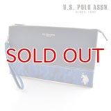 US POLO ASSN 718227 USPA-1903 ネイビー ブルーカモフラージュ Navy Blue Camouflage サフィアノ クラッチバッグ