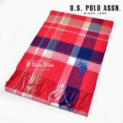 画像1: US POLO マフラー  男女兼用 17AW ウール100% USPA-2003 745923 RED×NAVY