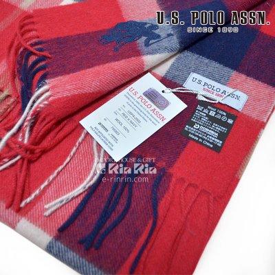 画像3: US POLO マフラー  男女兼用 17AW ウール100% USPA-2003 745923 RED×NAVY