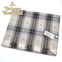 (ヴィヴィアン・ウエストウッド) Vivienne Westwood fp77-0020 チェックグレー GREY オーブロゴ入りマフラー 24se0-p77-0020 ヴィヴィアンマフラー