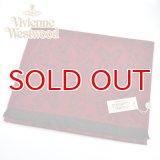 (ヴィヴィアン・ウエストウッド) Vivienne Westwood fp80-0101 ボルドー BORDEAUX オーブロゴ入りマフラー 24s32-p80-0101 ヴィヴィアンマフラー