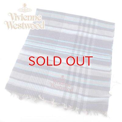 画像2: 【送料無料・新品・正規品】 s42-f933-0003 Vivienne Westwood ヴィヴィアンマフラー オーブロゴ入りマフラーS42-F933-0003 ブルー 【】