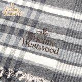 s42-f933-0004 Vivienne Westwood ヴィヴィアンマフラー オーブロゴ入りマフラーS42-F933-0004 グレー