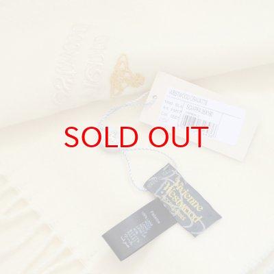 画像3: 【】Vivienne Westwood ヴィヴィアンマフラー sl4-fm17-0001 同色ロゴマフラー ホワイト 【】