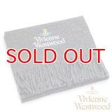 【】Vivienne Westwood ヴィヴィアンマフラー sl5-fm17-0011 シルバーロゴマフラー ダークグレー 【】