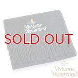 【】Vivienne Westwood ヴィヴィアンマフラー sl5-fm17-0012 シルバーロゴマフラー ブラック 【】