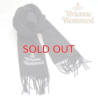 画像4: 【】Vivienne Westwood ヴィヴィアンマフラー sl5-fm17-0012 シルバーロゴマフラー ブラック 【】