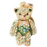 【】テディベア クリスタルペンダント&ストラップ (弟)Sサイズ グリーン (Teddy-01GR) 【】