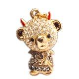 【】テディベア クリスタルペンダント&ストラップ (悪魔)兄 イエローブラック (Teddy-023Y/BK) 【】