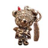 【】テディベア クリスタルペンダント&ストラップ (悪魔)弟 ブラック (Teddy-024BK) 【】