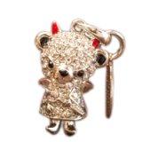 【】テディベア クリスタルペンダント&ストラップ (悪魔)弟 ホワイト (Teddy-024WH) 【】