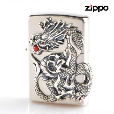 画像1: Zippo ジッポライター zp64160198 ドラゴンメタル 銀サテーナ
