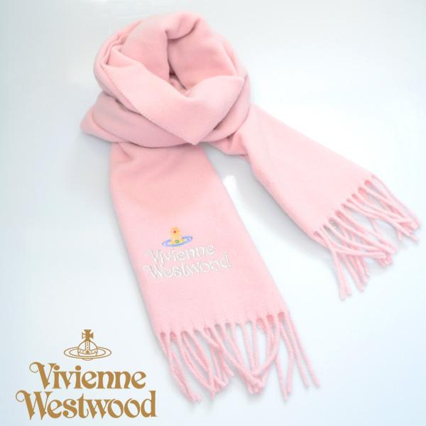 【】Vivienne Westwood ヴィヴィアンマフラー sl5,fm17,0023 シルバーロゴマフラー ピンク 【】  [sl5,fm17,0023]